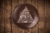 image of food pyramid  - Hand drawn food pyramid on colorful dish plate and grungy background - JPG