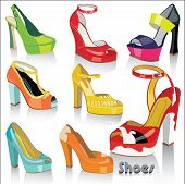stock photo of platform shoes  - Colorful fashion women - JPG