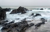 picture of inlet  - Rugged long exposure landscape seascape of rocky coastline - JPG