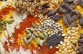 View of an assortment of spices and  ingredients used in indian and other asian cuisines.