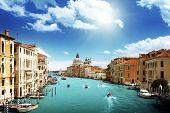 image of gondolier  - Grand Canal and Basilica Santa Maria della Salute - JPG