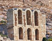 foto of akropolis  - Arches of ancient greek theater under Acropolis of Athens Greece - JPG