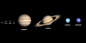 stock photo of uranus  - A rendered comparison of the Planets Mercury Venus Earth Mars Jupiter Saturn Uranus and Neptune with captions - JPG