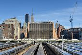 stock photo of railroad yard  - The West Side Train Yard for Pennsylvania Station in New York City from the Highline. View of the railcars for the Long Island Railroad. The future site of the Hudson Yards Redevelopment Project.