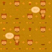 pic of gopher  - vector funny seamless pattern with  cartoon gophers - JPG