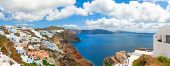foto of volcanic  - Santorini island, Oia village.