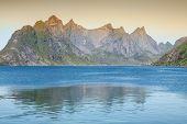 pic of reining  - Scenic town of Reine on Lofoten islands in Norway - JPG