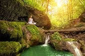 picture of padmasana  - Relaxation in forest at the Waterfall - JPG