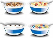 image of cereal bowl  - Illustrations of four different bowls of breakfast cereals - JPG