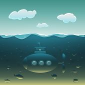 stock photo of saltwater fish  - Cartoon submarine under water surrounded by fish - JPG
