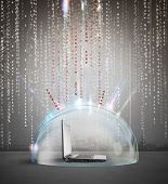 foto of antivirus  - Firewall and antivirus concept with a laptop inside a crystal sphere - JPG