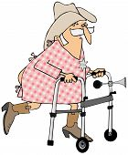 picture of hospital gown  - illustration of an old cowboy wearing a hospital gown using a walker - JPG
