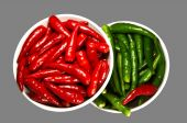 Red And Green Spicy Chili Pepper In The Plate poster