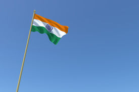 stock photo of ashok  - The national flag of India waving in the wind - JPG