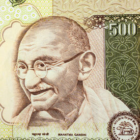 picture of gandhi  - A closeup of Gandhi on a five hundred rupee note - JPG