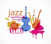 stock photo of drum-set  - Colorful Jazz instruments set - JPG