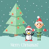 stock photo of elf  - Blue holiday Christmas card with elf and penguin and fir tree - JPG