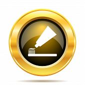 image of gold tooth  - Tooth paste and brush icon - JPG