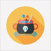 stock photo of witches cauldron  - Witches Cauldron Flat Icon With Long Shadow - JPG