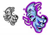 picture of pantomime  - Comedy and tragedy theater masks in cartoon style - JPG
