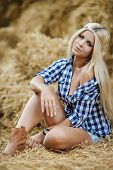 foto of cowgirls  - Beautiful blonde cowgirl posing for a photograph while sitting on hay on a hot summer day in the countryside - JPG