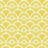 stock photo of motif  - Yellow vintage hand drawn art deco pattern with scale motifs - JPG