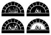 stock photo of oven  - vector black and white clipart set of ovens with burning fire - JPG