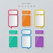 image of staples  - set of blank colorful paper speech bubbles stapled in flat style - JPG