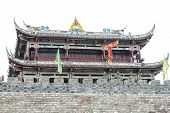 foto of hilltop  - Temple on a hilltop in China and white background - JPG
