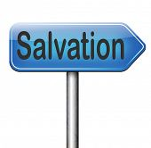 stock photo of jesus sign  - salvation save your soul pray to jesus and the lord god pray and belief in the bible sign with text and word  - JPG