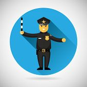 stock photo of law order  - Police officer character with adjusting rod protection law order symbol on Stylish Background Modern Flat Design Vector Illustration - JPG