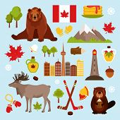 foto of beaver  - Canada colored decorative icons set with hockey maple syrup beaver isolated vector illustration - JPG