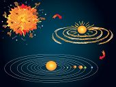 stock photo of big-bang  - illustration of Big Bang and the formation of the solar system - JPG