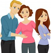 foto of pre-adolescent child  - Illustration Featuring a Mother Introducing Her Daughter to Her Stepfather - JPG