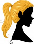 picture of ponytail  - Illustration Featuring the Silhouette of a Girl Wearing a Ponytail - JPG