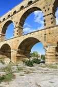 picture of aqueduct  - Roman aqueduct at Pont du Gard France UNESCO World Heritage Site