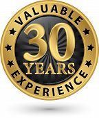 stock photo of experiments  - 30 years valuable experience gold label vector illustration - JPG