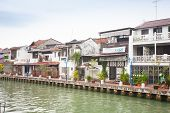 pic of malacca  - Malacca city with house near river under blue sky Malaysia - JPG