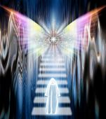 stock photo of stairway to heaven  - Cloaked Figure before Winged Eye - JPG