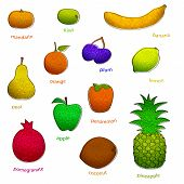 picture of drow  - fruit set with texture  simple vector eps 10 - JPG