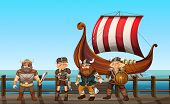 picture of viking ship  - vikings standing on the pier - JPG