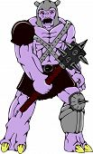 foto of spike  - Cartoon style illustration of an orc warrior wielding a club with thorns and spikes viewed from front on isolated background - JPG