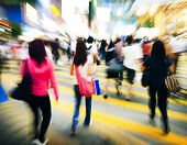 image of pedestrian crossing  - Hong Kong People Commuters Road Crossing Pedestrian Concept - JPG