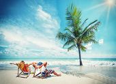 picture of caricatures  - Couple on the beach at tropical resort Travel concept - JPG