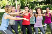stock photo of squatting  - Fitness group squatting in park on a sunny day - JPG