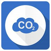 picture of carbon-dioxide  - carbon dioxide blue flat icon co2 sign  - JPG