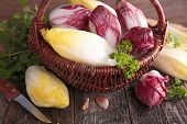 pic of chicory  - basket with raw chicory - JPG