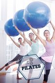 foto of pilates  - The word pilates and fitness class doing pilates exercise with fitness balls against hexagon - JPG