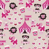 picture of circus clown  - Seamless girls circus animals theme elephant clown monkey and ferris wheel illustration background pattern in vector - JPG
