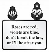 stock photo of bobbies  - Monochrome comical do not break the law poem isolated on white background - JPG